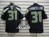 NEW Seahawks #31 Kam Chancellor Steel Blue Team Color Super Bowl XLVIII NFL Elite Jersey