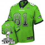 NEW Seahawks #81 Golden Tate Green Super Bowl XLVIII NFL Elite Drift Fashion Jersey