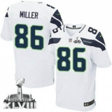 NEW Seahawks #86 Zach Miller White Super Bowl XLVIII NFL Elite Jersey