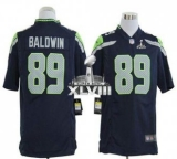NEW Seahawks #89 Doug Baldwin Steel Blue Super Bowl XLVIII NFL Game Jersey