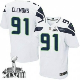 NEW Seahawks #91 Chris Clemons White Super Bowl XLVIII NFL Elite Jersey