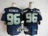 NEW Seahawks #96 Cortez Kennedy Steel Blue Team Color Super Bowl XLVIII NFL Elite Jersey