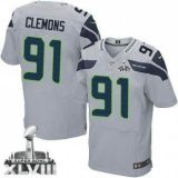 NEW SeNEW Seahawks #91 Chris Clemons Grey Alternate Super Bowl XLVIII NFL Elite Jersey