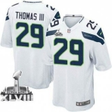 Nike Seahawks #29 Earl Thomas III White Super Bowl XLVIII NFL Game Jersey