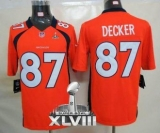 NEW Broncos #87 Eric Decker Orange Team Color Super Bowl XLVIII NFL Limited Jerseys