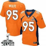 NEW Broncos #95 Derek Wolfe Orange Team Color Super Bowl XLVIII NFL Jerseys