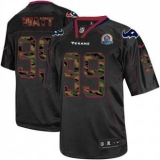 Nike Texans #99 J J Watt Black With Hall of Fame 50th Patch Men\'s Stitched NFL Elite Camo Fashion Jersey