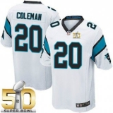 Youth Nike Panthers #20 Kurt Coleman White Super Bowl 50 Stitched NFL Elite Jersey