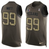 Nike Texans #99 J J Watt Green Men\'s Stitched NFL Limited Salute To Service Tank Top Jersey