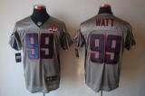 Nike Texans #99 J J Watt Grey Shadow With 10th Patch Men\'s Stitched NFL Elite Jersey