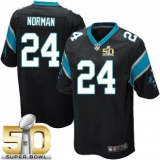 Youth Nike Panthers #24 Josh Norman Black Team Color Super Bowl 50 Stitched NFL Elite Jersey