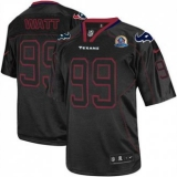 Nike Texans #99 J J Watt Lights Out Black With Hall of Fame 50th Patch Men\'s Stitched NFL Elite Jersey