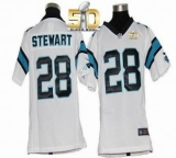 Youth Nike Panthers #28 Jonathan Stewart White Super Bowl 50 Stitched NFL Elite Jersey
