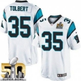Youth Nike Panthers #35 Mike Tolbert White Super Bowl 50 Stitched NFL Elite Jersey