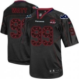 Nike Texans #99 J J Watt New Lights Out Black With 10th Patch Men\'s Stitched NFL Elite Jersey