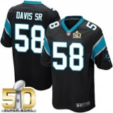 Youth Nike Panthers #58 Thomas Davis Sr Black Team Color Super Bowl 50 Stitched NFL Elite Jersey