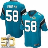 Youth Nike Panthers #58 Thomas Davis Sr Blue Alternate Super Bowl 50 Stitched NFL Elite Jersey