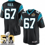 Youth Nike Panthers #67 Ryan Kalil Black Team Color Super Bowl 50 Stitched NFL Elite Jersey