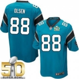 Youth Nike Panthers #88 Greg Olsen Blue Alternate Super Bowl 50 Stitched NFL Elite Jersey