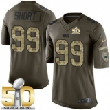 Youth Nike Panthers #99 Kawann Short Green Super Bowl 50 Stitched NFL Limited Salute to Service Jersey