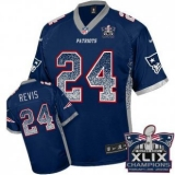Youth Nike Patriots #24 Darrelle Revis Navy Blue Team Color Super Bowl XLIX Champions Patch NFL Elite Drift Fashion Jersey