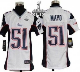Youth Nike Patriots #51 Jerod Mayo White Super Bowl XLIX Stitched NFL Elite Jersey