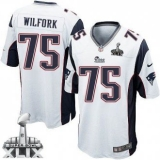 Youth Nike Patriots #75 Vince Wilfork White Super Bowl XLIX Stitched NFL Elite Jersey
