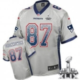 Youth Nike Patriots #87 Rob Gronkowski Grey Super Bowl XLIX NFL Elite Drift Fashion Jersey