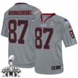 Youth Nike Patriots #87 Rob Gronkowski Lights Out Grey Super Bowl XLIX Stitched NFL Elite Jersey