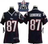 Youth Nike Patriots #87 Rob Gronkowski Navy Blue Team Color Super Bowl XLIX Champions Patch NFL Elite Jersey