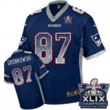 Youth Nike Patriots #87 Rob Gronkowski Navy Blue Team Color Super Bowl XLIX Champions Patch NFL Elite Drift Fashion Jersey
