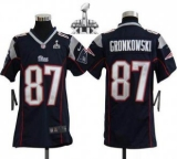 Youth Nike Patriots #87 Rob Gronkowski Navy Blue Team Color Super Bowl XLIX Stitched NFL Elite Jersey