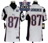 Youth Nike Patriots #87 Rob Gronkowski White Super Bowl XLIX Champions Patch NFL Elite Jersey