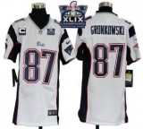 Youth Nike Patriots #87 Rob Gronkowski White With C Patch Super Bowl XLIX Champions Patch NFL Elite Jersey