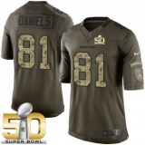 Youth Nike Broncos #81 Owen Daniels Green Super Bowl 50 Stitched NFL Limited Salute to Service Jersey