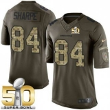 Youth Nike Broncos #84 Shannon Sharpe Green Super Bowl 50 Stitched NFL Limited Salute to Service Jersey