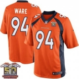 Youth Nike Broncos #94 DeMarcus Ware Orange NFL Home Super Bowl 50 Champions Elite Jersey