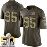 Youth Nike Broncos #95 Derek Wolfe Green Super Bowl 50 Stitched NFL Limited Salute to Service Jersey