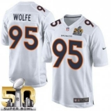 Youth Nike Broncos #95 Derek Wolfe White Super Bowl 50 Stitched NFL Game Event Jersey