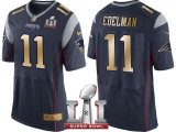 NEW ENGLAND PATRIOTS #11 JULIAN EDELMAN NAVY SUPER BOWL LI CHAMPIONS GOLD ELITE JERSEY