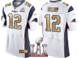 NEW ENGLAND PATRIOTS #12 TOM BRADY WHITE SUPER BOWL LI CHAMPIONS GOLD ELITE JERSEY
