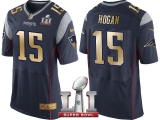 NEW ENGLAND PATRIOTS #15 CHRIS HOGAN NAVY SUPER BOWL LI CHAMPIONS GOLD ELITE JERSEY