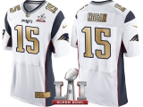 NEW ENGLAND PATRIOTS #15 CHRIS HOGAN WHITE SUPER BOWL LI CHAMPIONS GOLD ELITE JERSEY