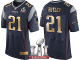 NEW ENGLAND PATRIOTS #21 MALCOLM BUTLER NAVY SUPER BOWL LI CHAMPIONS GOLD ELITE JERSEY