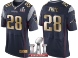 NEW ENGLAND PATRIOTS #28 JAMES WHITE NAVY SUPER BOWL LI CHAMPIONS GOLD ELITE JERSEY