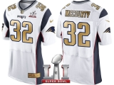 NEW ENGLAND PATRIOTS #32 DEVIN MCCOURTY WHITE SUPER BOWL LI CHAMPIONS GOLD ELITE JERSEY