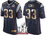 NEW ENGLAND PATRIOTS #33 DION LEWIS NAVY SUPER BOWL LI CHAMPIONS GOLD ELITE JERSEY