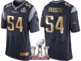 NEW ENGLAND PATRIOTS #54 TEDY BRUSCHI NAVY SUPER BOWL LI CHAMPIONS GOLD ELITE JERSEY