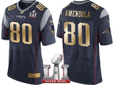 NEW ENGLAND PATRIOTS #80 DANNY AMENDOLA NAVY SUPER BOWL LI CHAMPIONS GOLD ELITE JERSEY