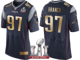 NEW ENGLAND PATRIOTS #97 ALAN BRANCH NAVY SUPER BOWL LI CHAMPIONS GOLD ELITE JERSEY